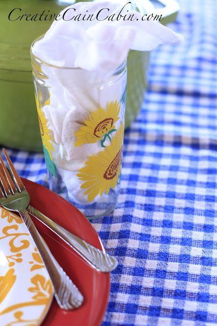 Vintage Gingham Table Cloth - Creative Cain Cabin
