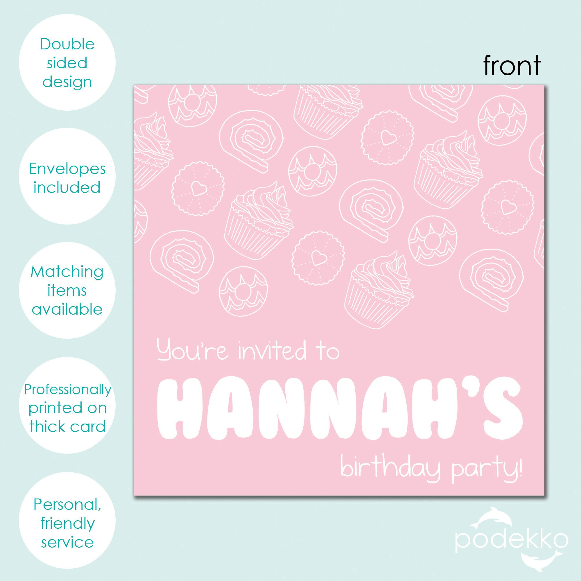 Baby Pink Party Food Pattern with Bubble Font Personalised