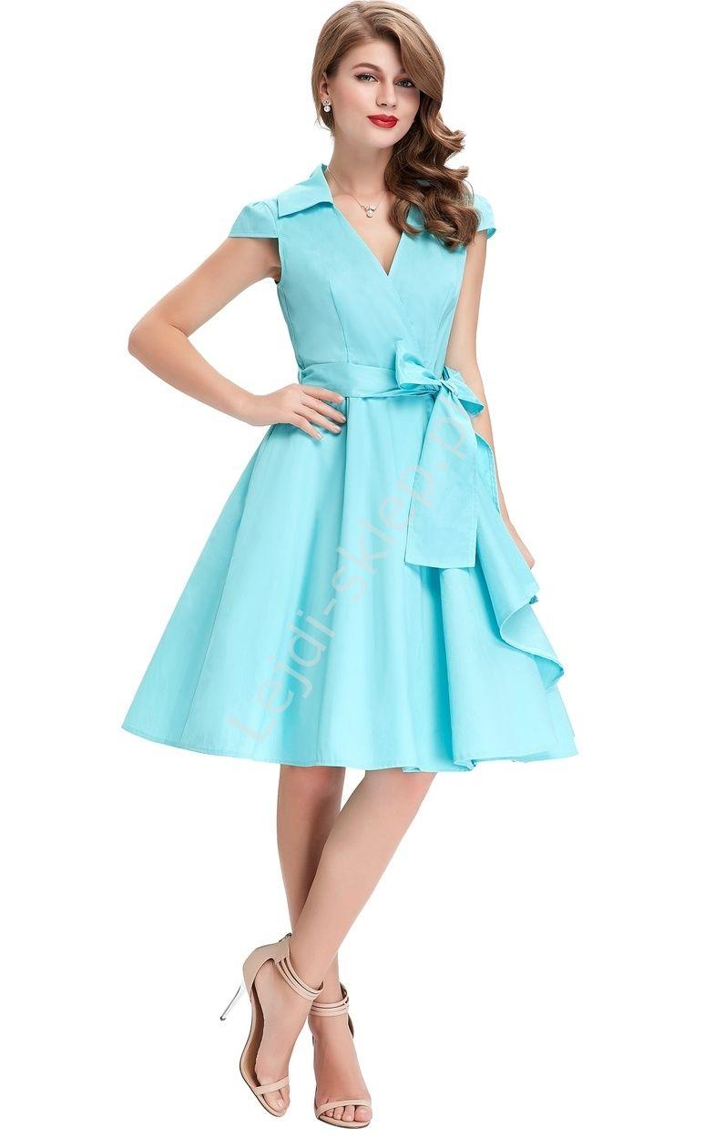 847afbb96e Turkusowa bawełniana sukienka w stylu retro