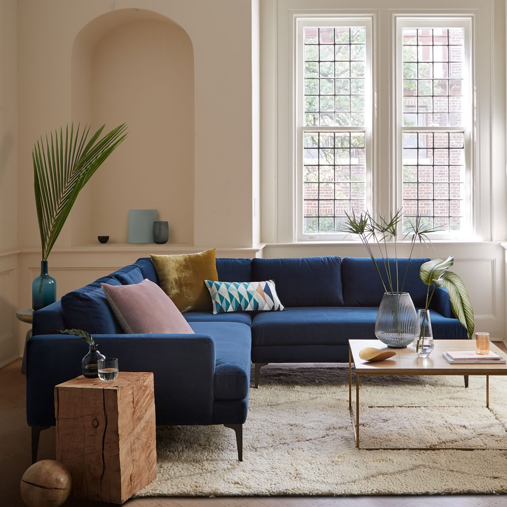 Andes 3 Piece Sectional Ink Blue Performance Velvet Blue Sofas Living Room Blue Couch Living Room Velvet Sofa Living Room