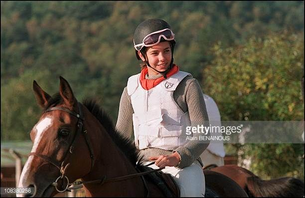 Charlotte Casiraghi and her brother Andrea at jockey school in France on October 06 2001