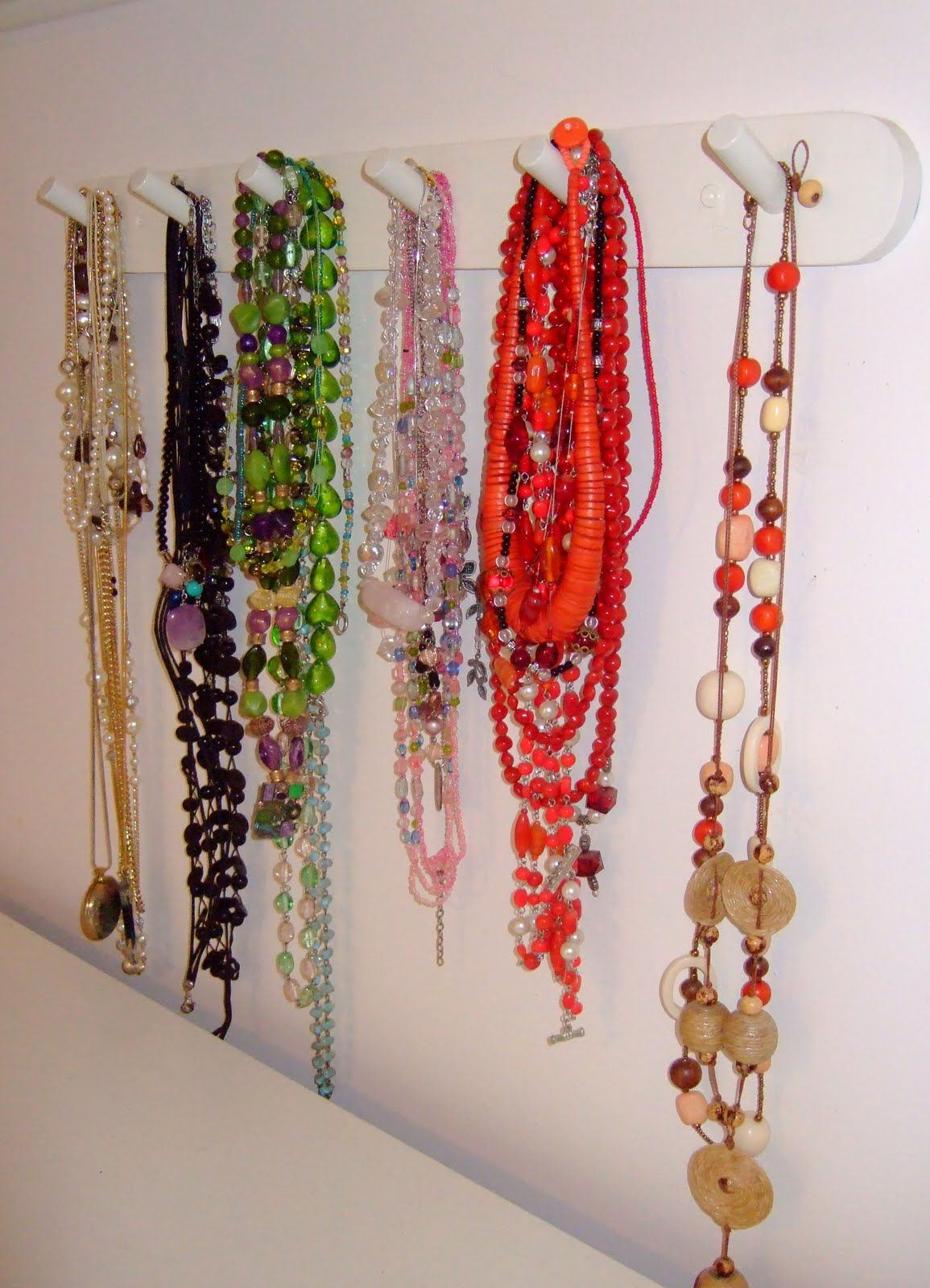 My organized necklaces by colour!