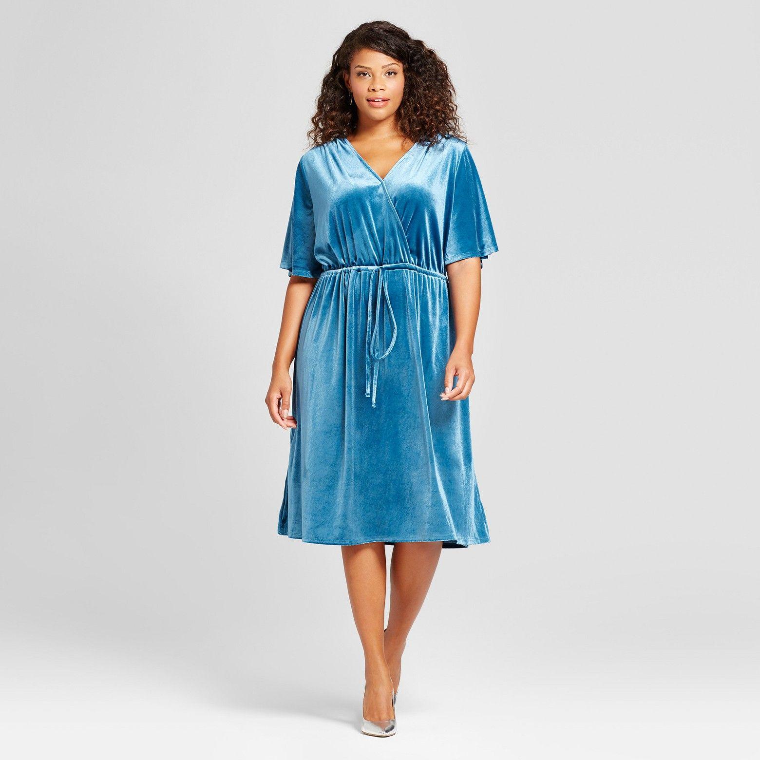 Ava & Viv Women\'s Plus Size Velvet Wrap Dress | Wrap dresses, Wrap ...
