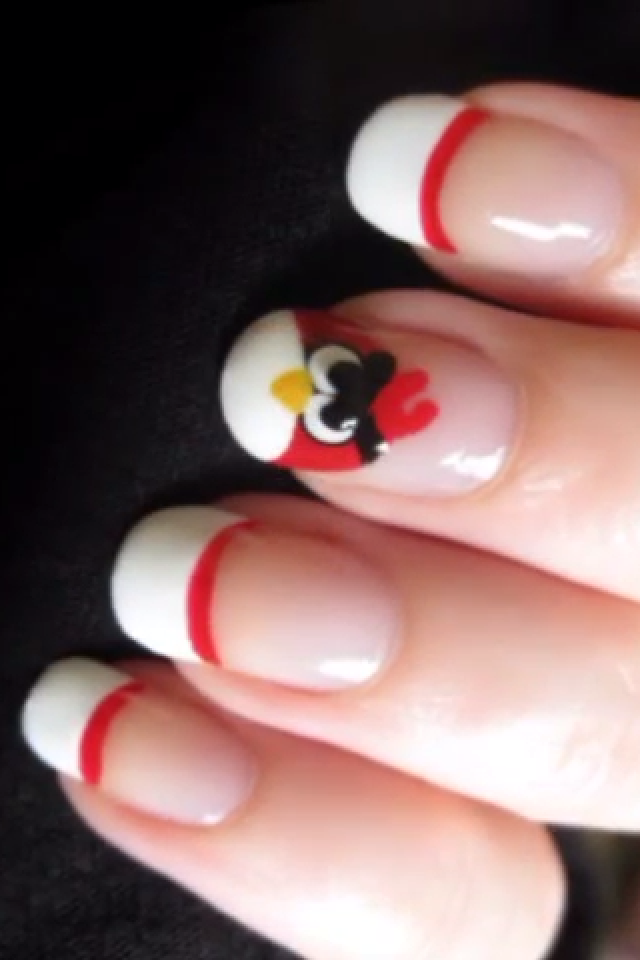 A simple and cute angry birds nail design! | Nails-French Tips ...