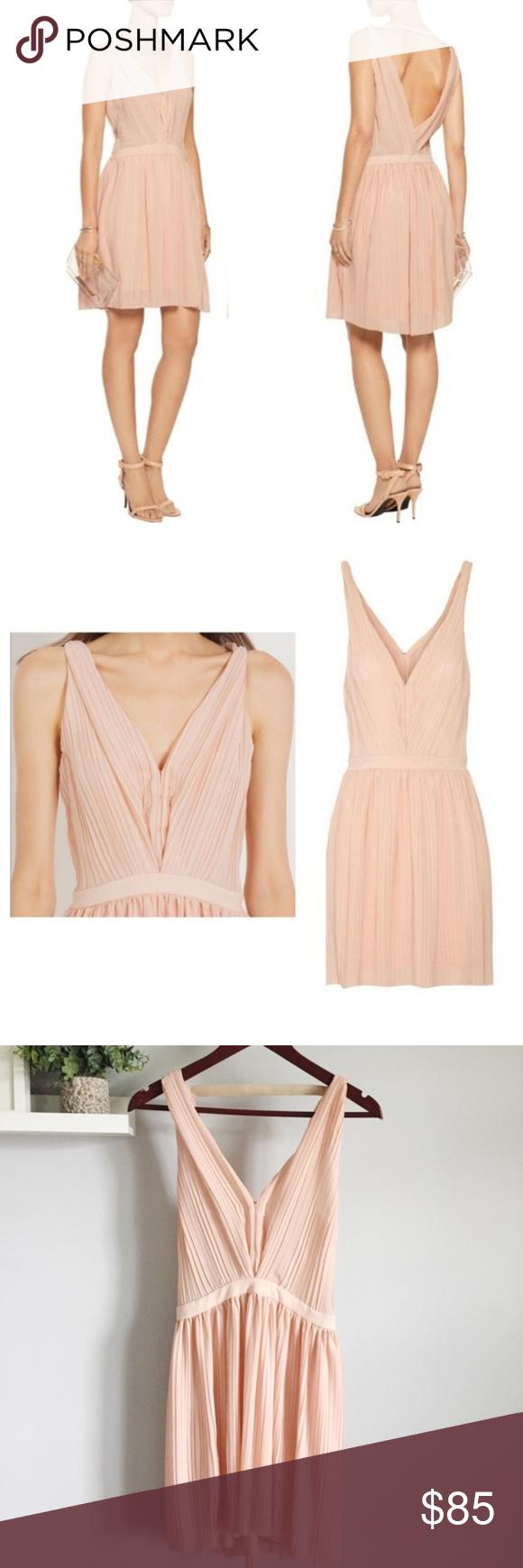 Maje | Frasera Blush Grecian Dress Pleated Chiffon like new