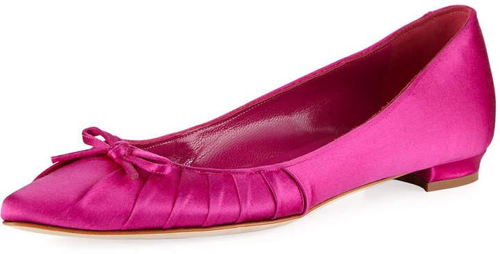 30878867b157 Manolo Blahnik Pleata Point-Toe Satin Ballerina Flat