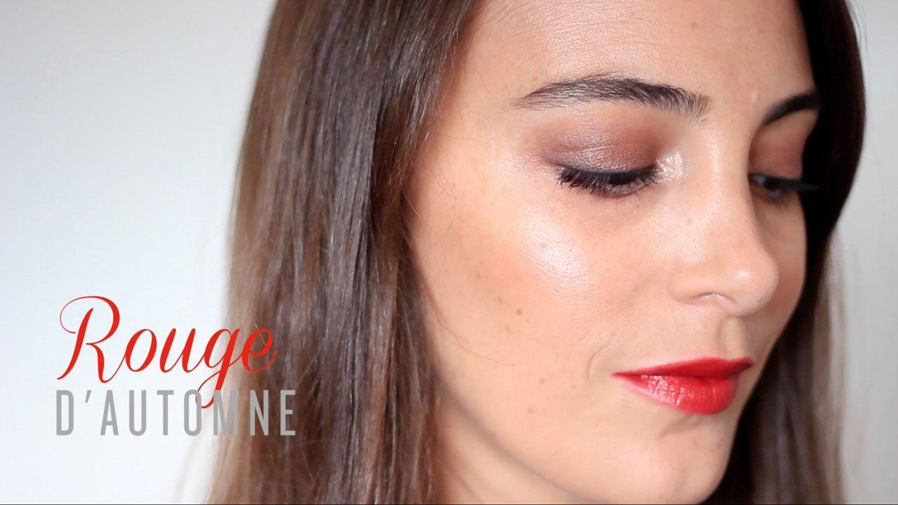 tuto maquillage facile automne rouge à lèvres rouge