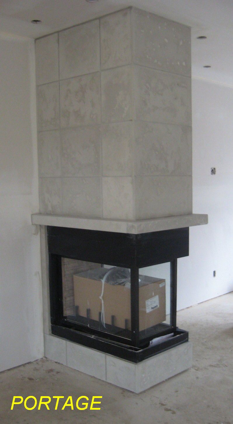Cast Stone Tiles For A 3 Sided Fireplace Concrete Look