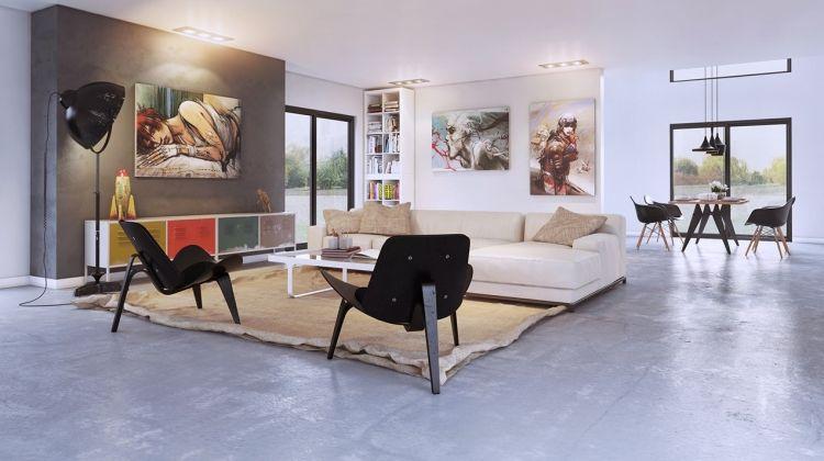Gestaltung wohnzimmer ~ Bodenbelag beton moderne gestaltung wohnzimmer anime bilder couch