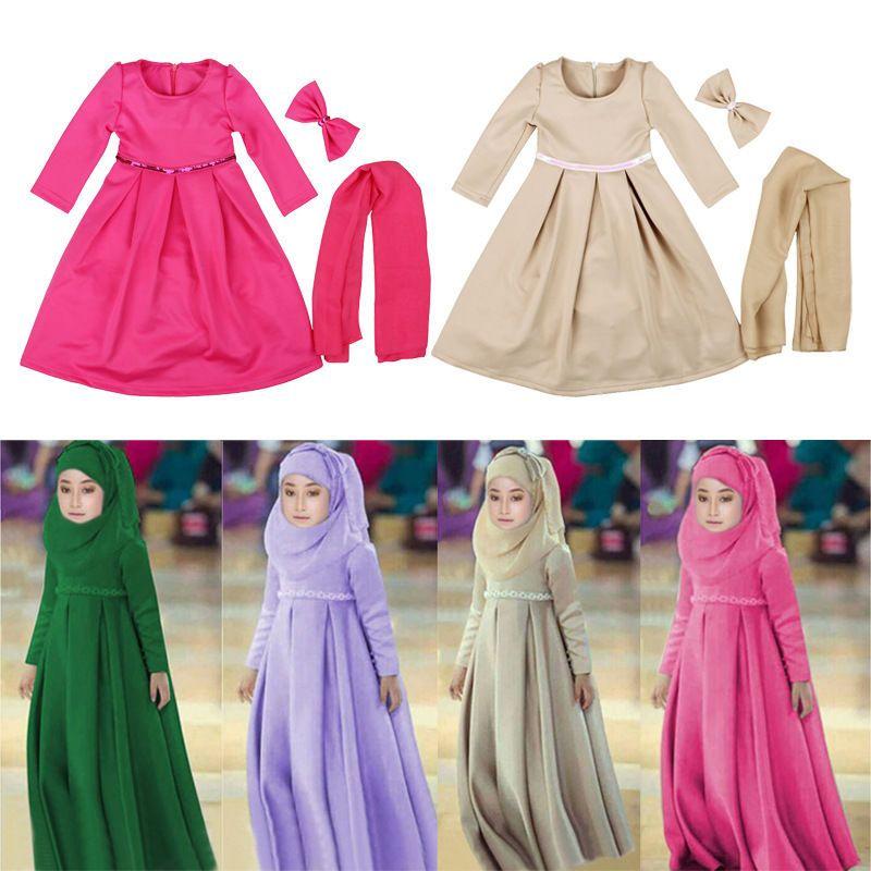 Muslim Kids Girl Scasrf Hijab+Dress Islamic Prayer Kaftan Maxi Clothing Sets