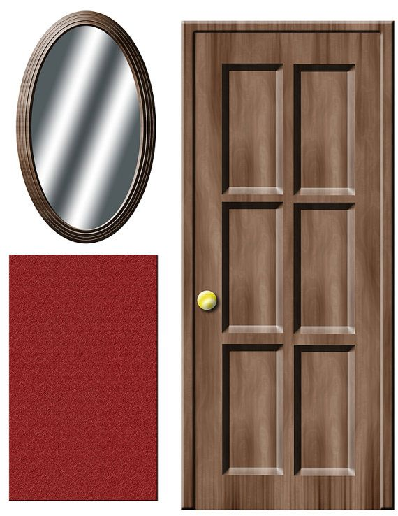 Digital Download Dollhouse Decals Wooden Door And Mirror With Rug