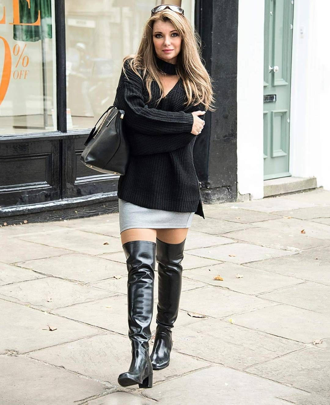 Blonde Wearing Skirt And Acquo Otk Boots Outfit  Thigh -9774