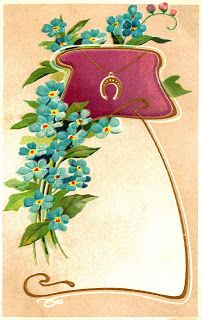 Free Digital Flower Label Download Forget-Me-Not Luck Image