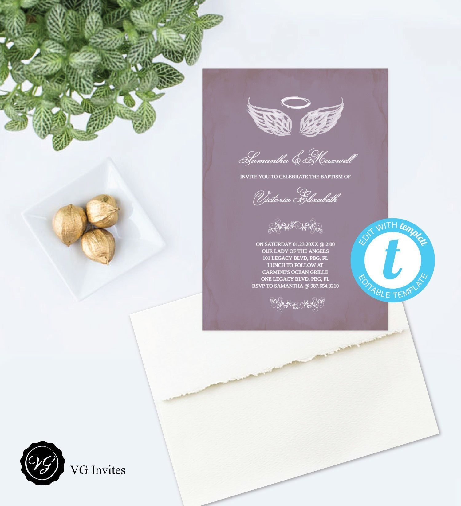 Christening invitation template picture of baby girl with angel.