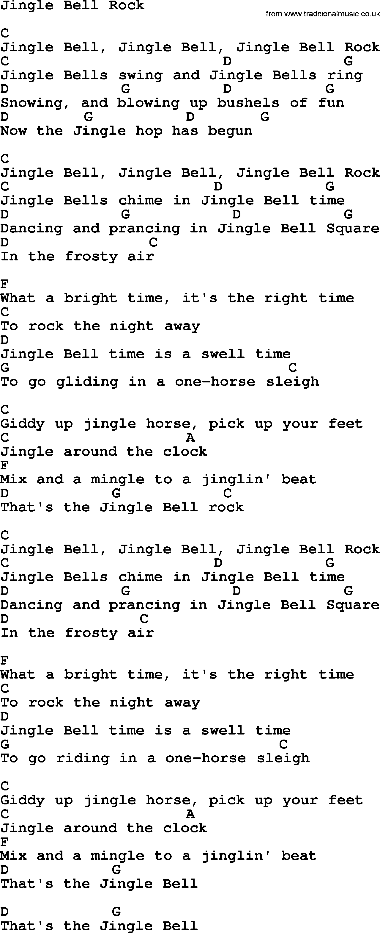 George Strait song: Jingle Bell Rock, lyrics and chords | Songs in ...