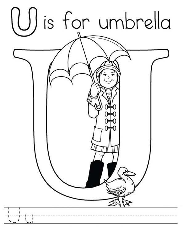 Letter U is for Umbrella Coloring Page Preschool Kids | Bulk Color ...