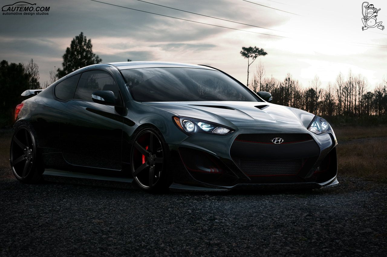 Hyundai genesis coupe made to the asc the world championship team without autemo i had about 1 month to do front and rear bodywork is mix with cp and