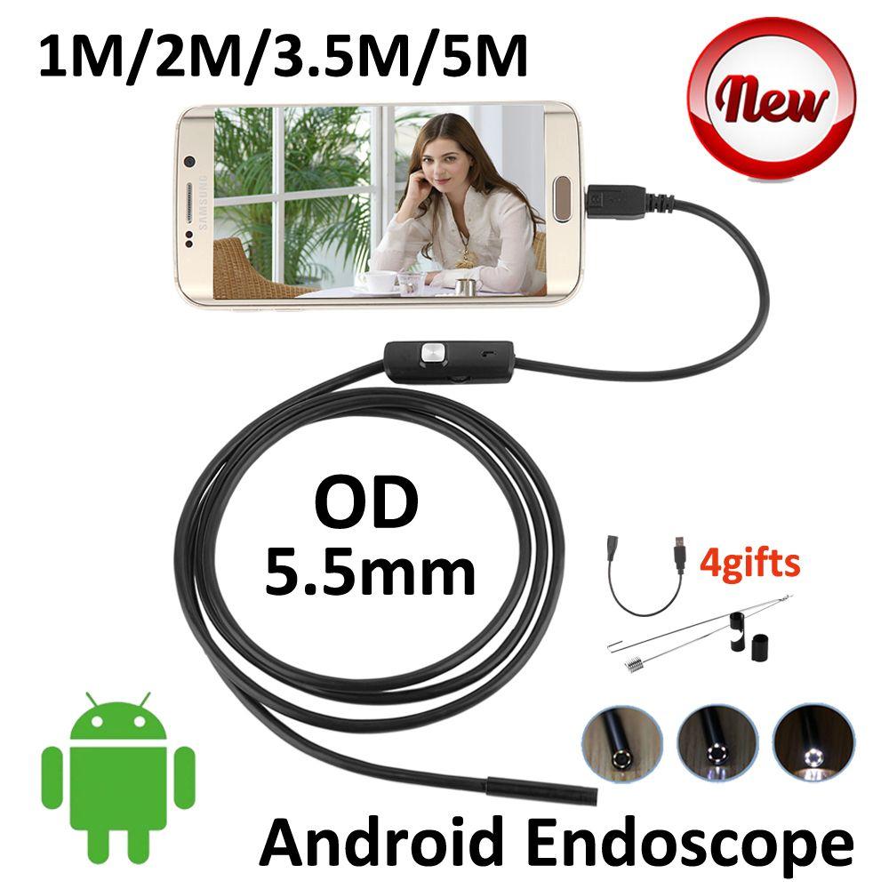 5 M Android OTG del USB Del Endoscopio de La Cámara 5.5mm OD 3.5 M 2 M 1 M Pipa de La Serpiente Flexible USB OTG Androide Boroscopio Cámara de inspección(China (Mainland))