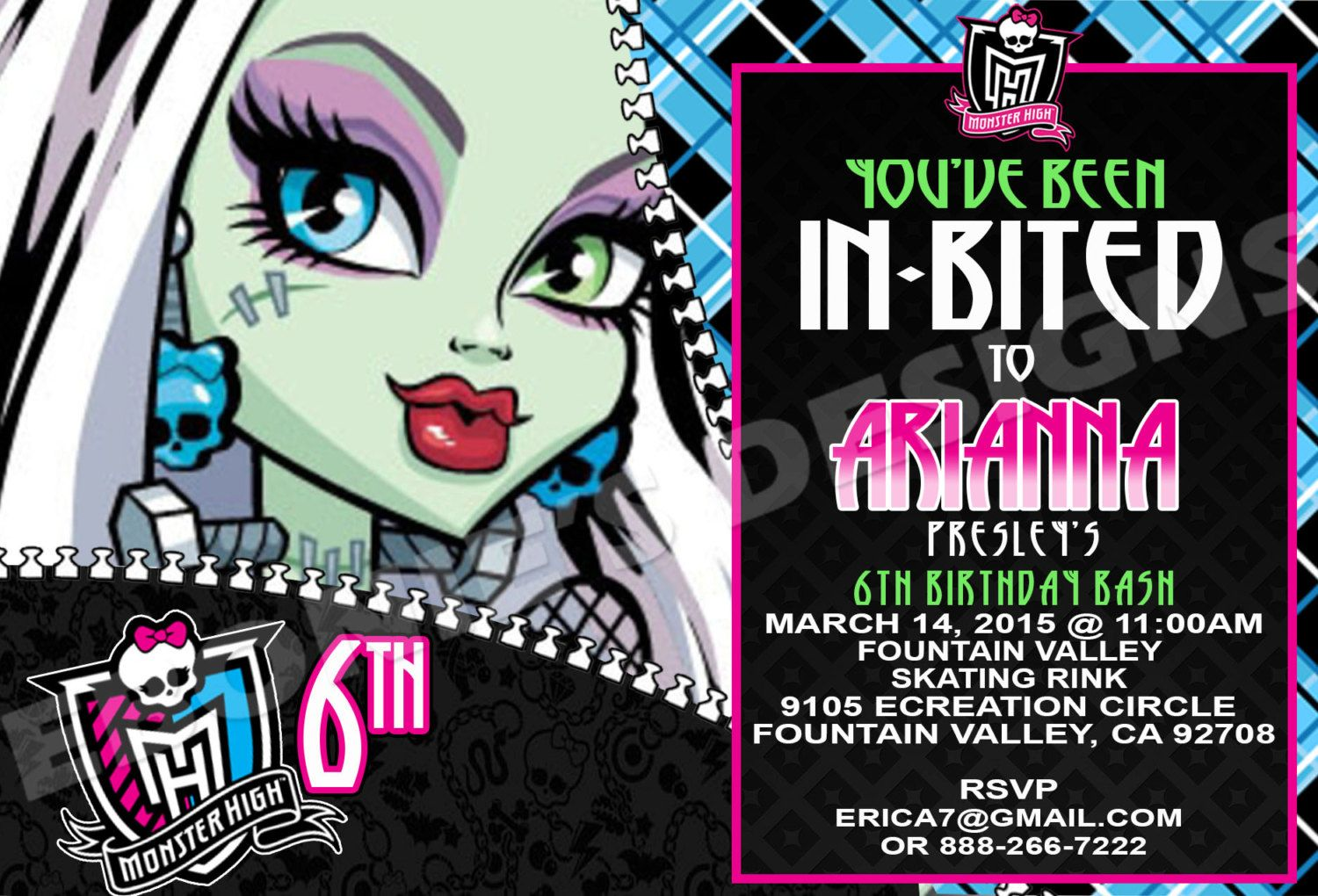 Frankie Stein Monster High Invitation,MH Birthday Invitation,Monster ...