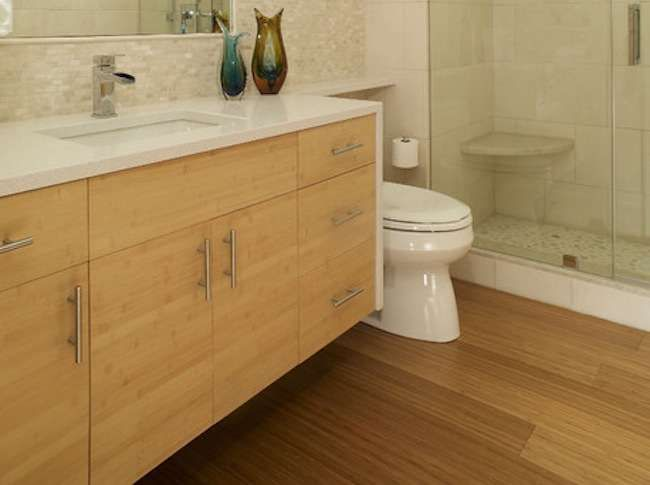 Bamboo Bathroom Cabinet With Ceramic Basin Bamboo Flooring Bathroom Bathroom Flooring Rustic Flooring