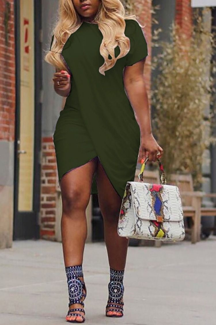 Solid crisscross irregular mini dress in fashion style all