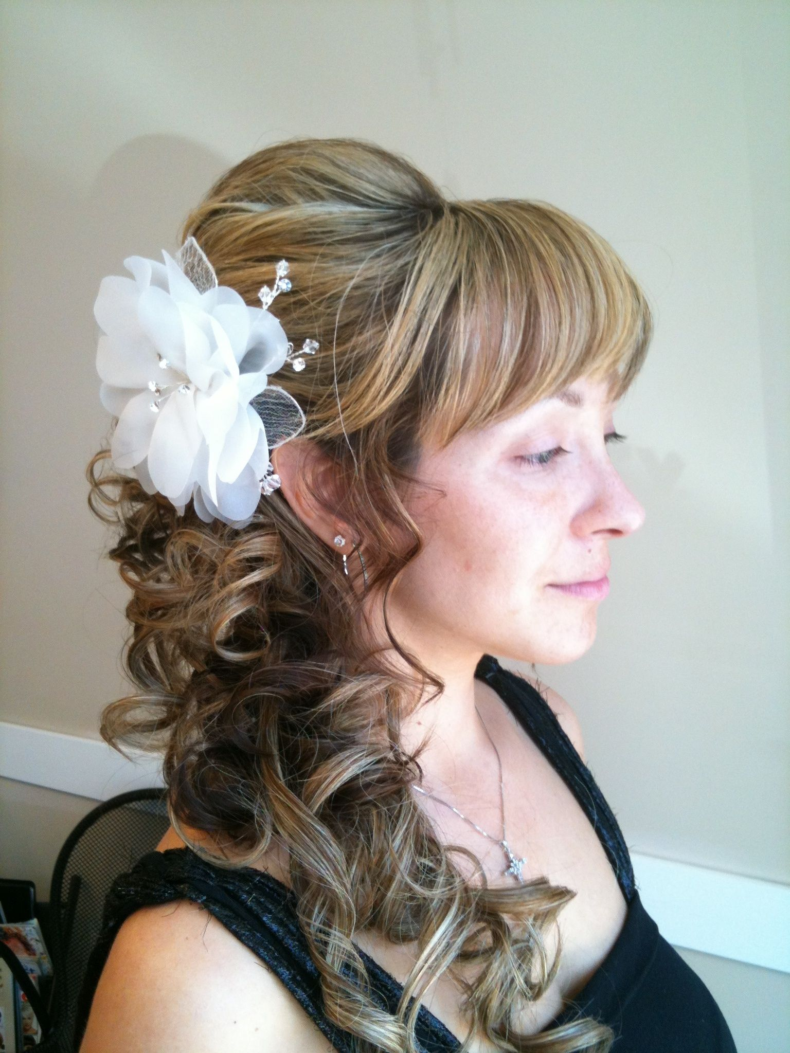 Loose curl side ponytail updo | Hair styles | Wedding hair side, Curly side ponytails, Wedding ...