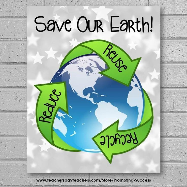 Earth Day Poster, Reduce Reuse Recycle, Science Classroom Decor 8x10 or 16x20   Elementary ...
