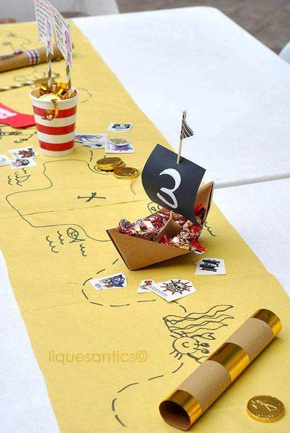 pirate table runner with center pieces craftsy kids birthday party ideas pinterest. Black Bedroom Furniture Sets. Home Design Ideas