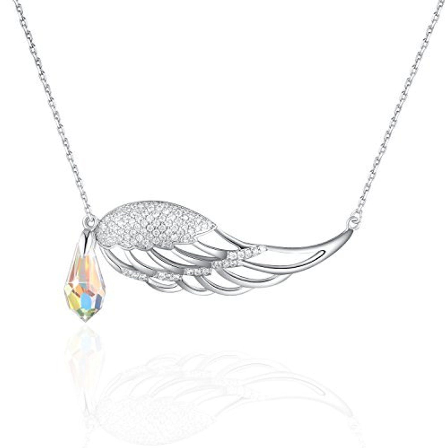 Plato h guardian angel wing drop pendant necklace with swarovski