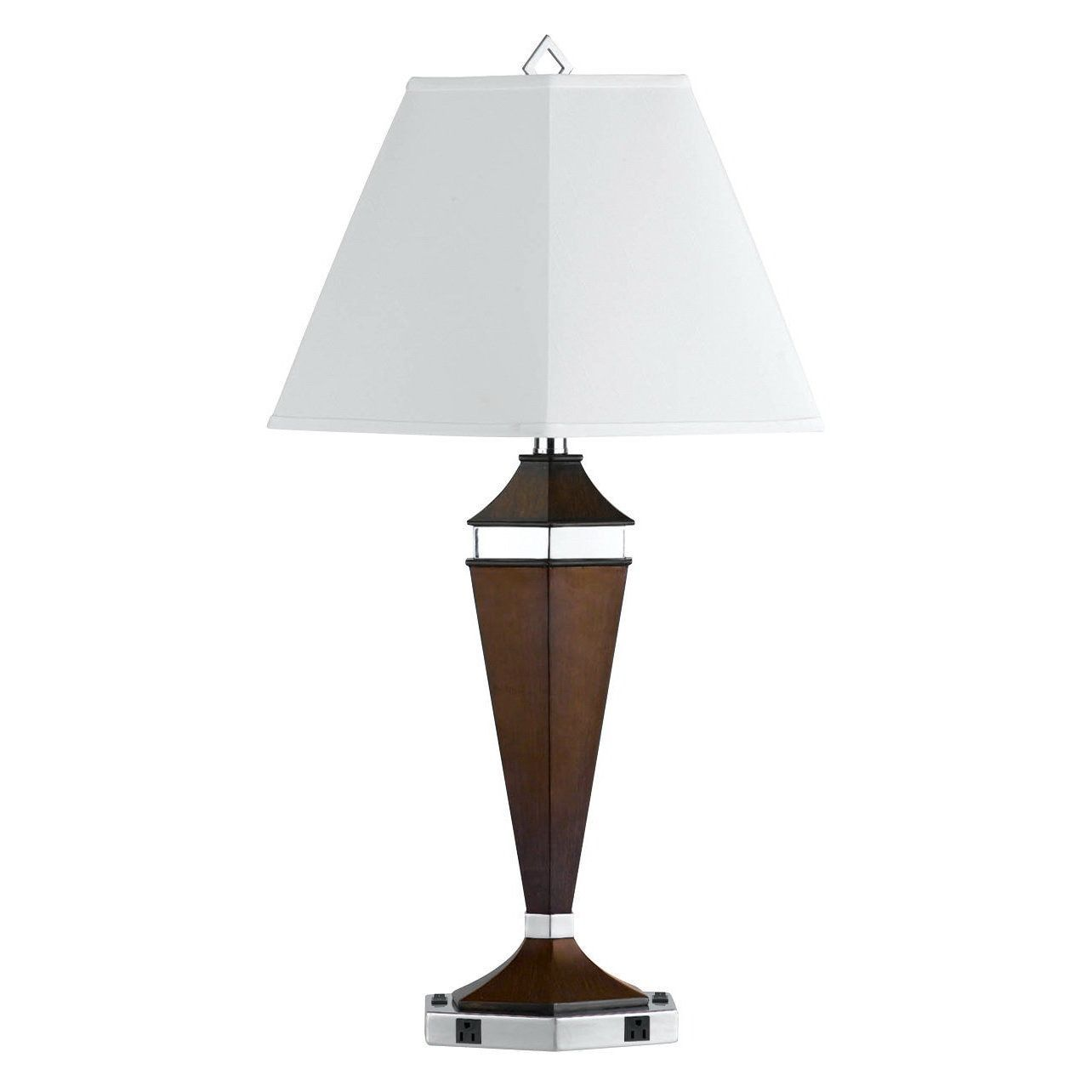White/Silver/Brown Metal Two-outlet Table Lamp (Table Lamp)