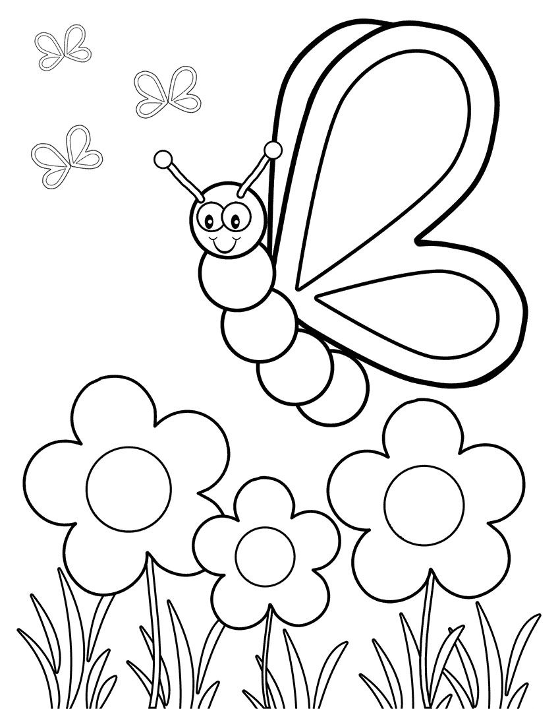 Butterfly Viewing Flowers Coloring Pages | Kolorowanki - zwierzęta ...