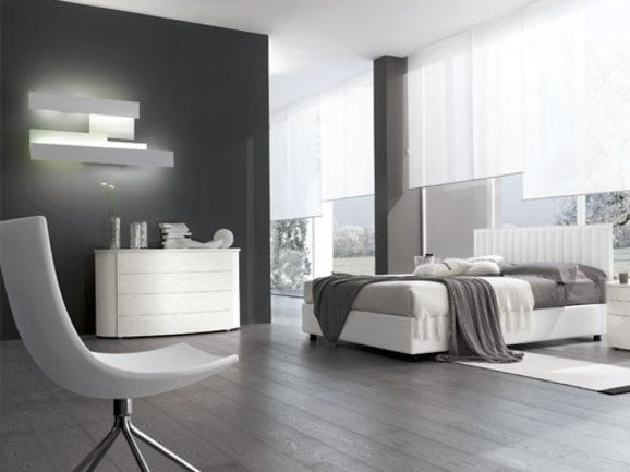 Camera da letto moderna modern bedroom letto matrimoniale imbottito in pelle bianca com e - Camere da letto in pelle ...