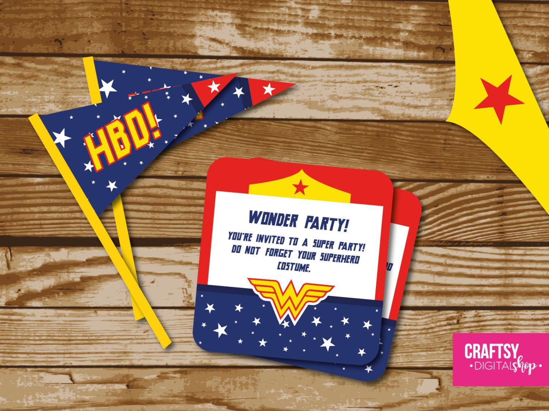 Wonder Woman Party Invitation to print | Mujer maravilla, La mujer ...