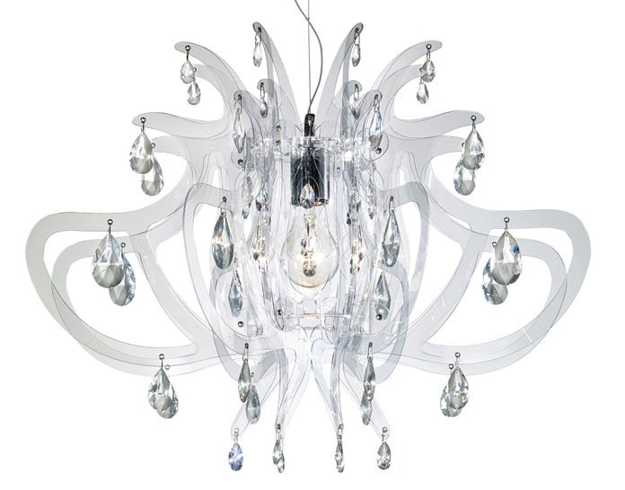 Modern Acrylic Chandelier with Crystals - Little Crown Interiors ...