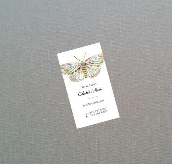 Business Card with Butterfly, Watercolor Butterfly Mommy Card
