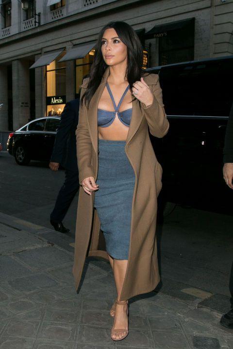 5798f01a0be Kim Kardashian Rocks a Gucci Pantsuit Without a Top in L.A. ...