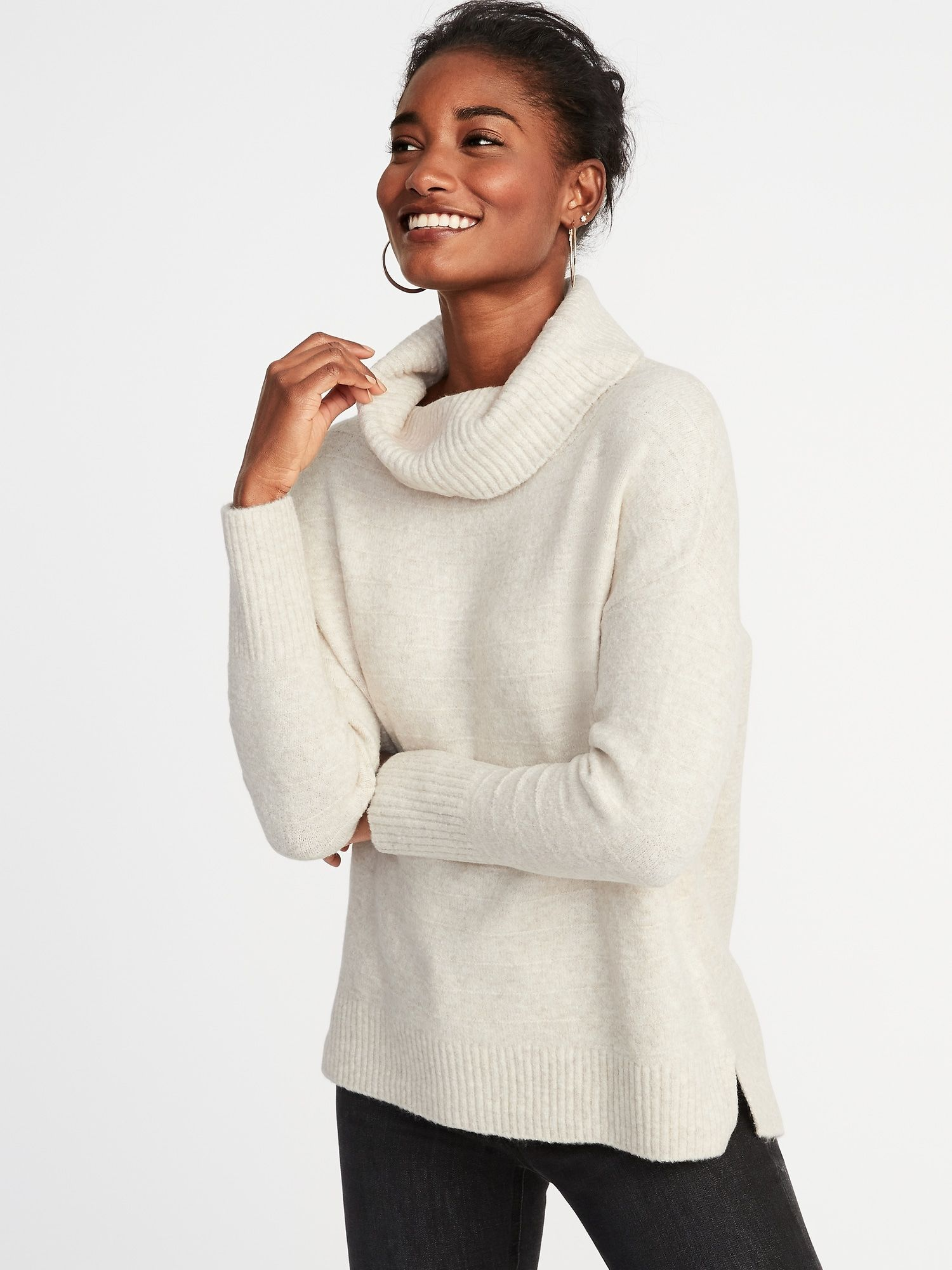 Slouchy Garter-Stitch Turtleneck Sweater for Women  7df0d7025891