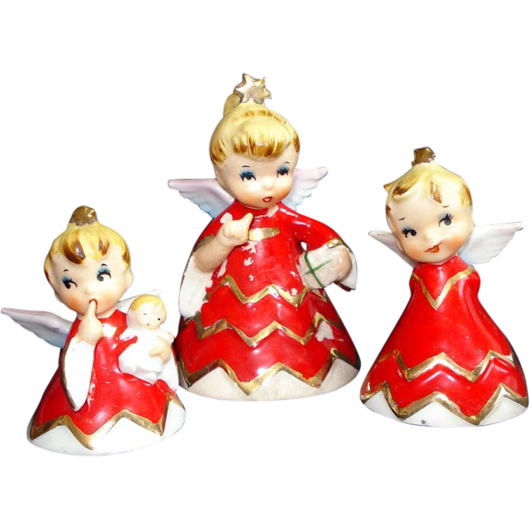 Lefton 1956 Naughty Sisters Baby Christmas Angel Bell Figurines