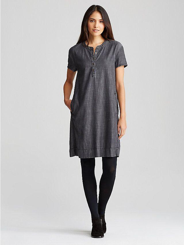 6b69fd00420 Round Neck Short-Sleeve Dress in Tencel Organic Cotton Denim ...