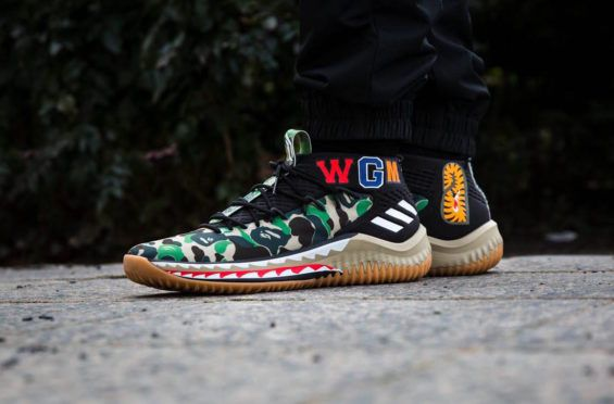lowest price 7bd63 2a981 Get Ready For The BAPE x adidas Dame 4 Green Camo Damian Lillards fourth  signature shoe