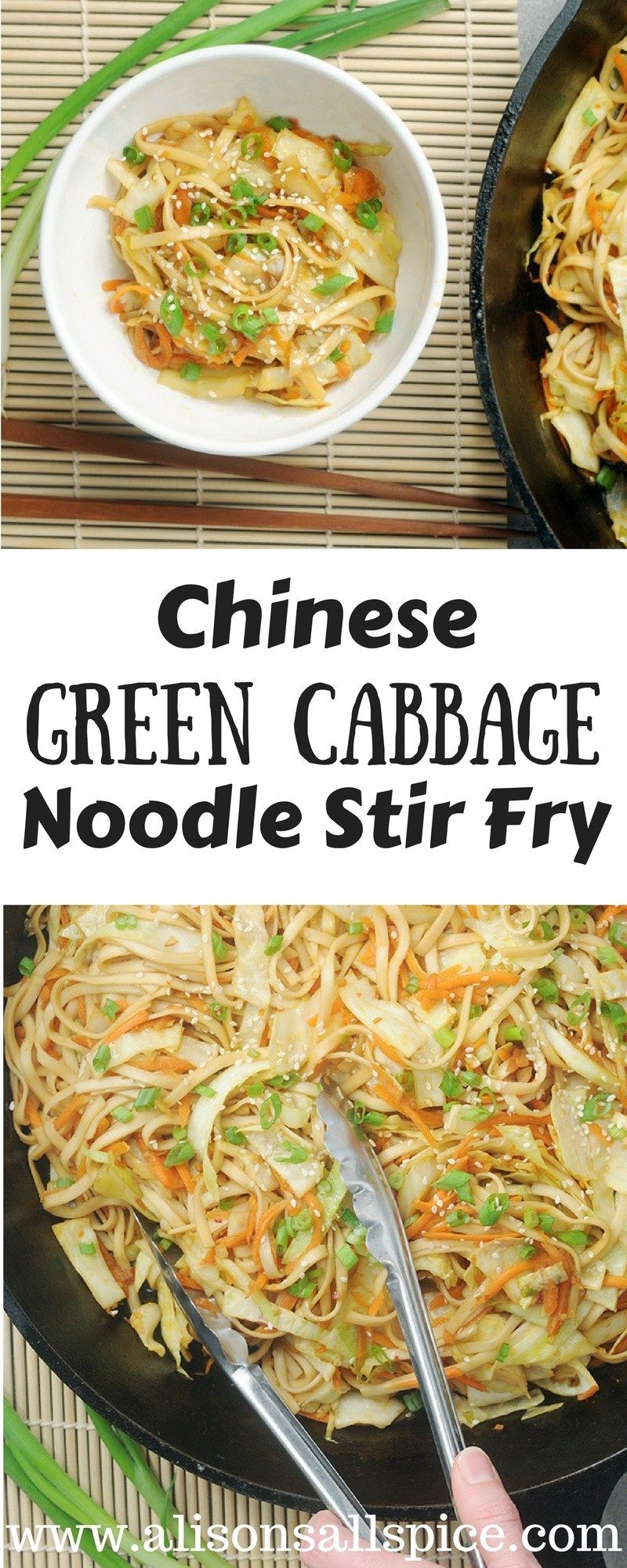 Chinese Green Cabbage Noodle Stir Fry #healthystirfry