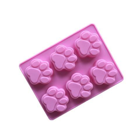 Molde de Silicone 6 Cavidades Pata de Cachorro (aprox.5,3x 5,5 x 1,5cm) para Chocolates, Sabonetes, Pudim