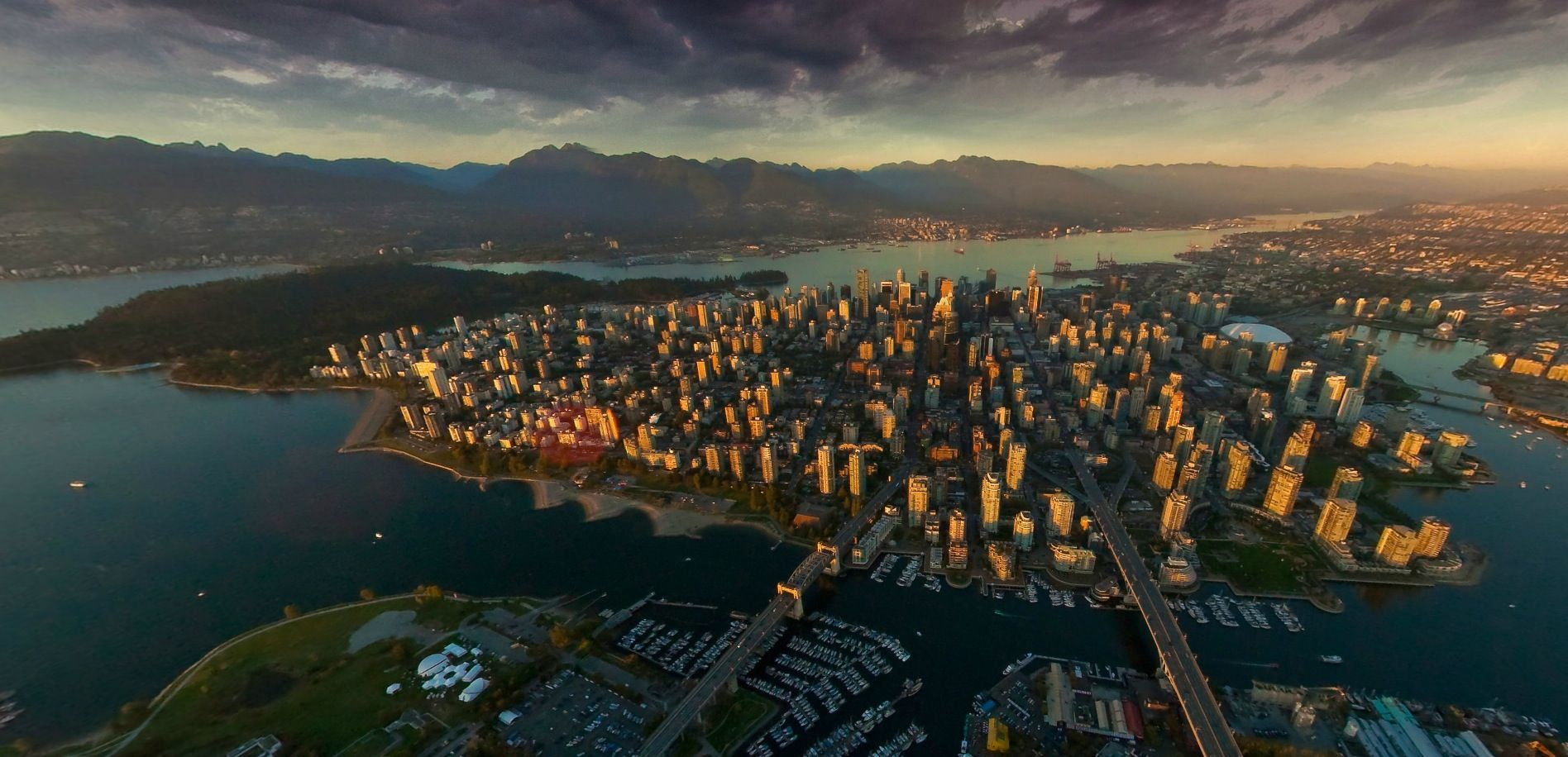 showcase vancouver at sunset aerial panorama vancouver. Black Bedroom Furniture Sets. Home Design Ideas