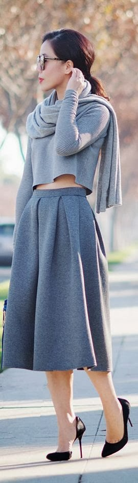 Gray Cropped Top And Gray Midi Full Skirt