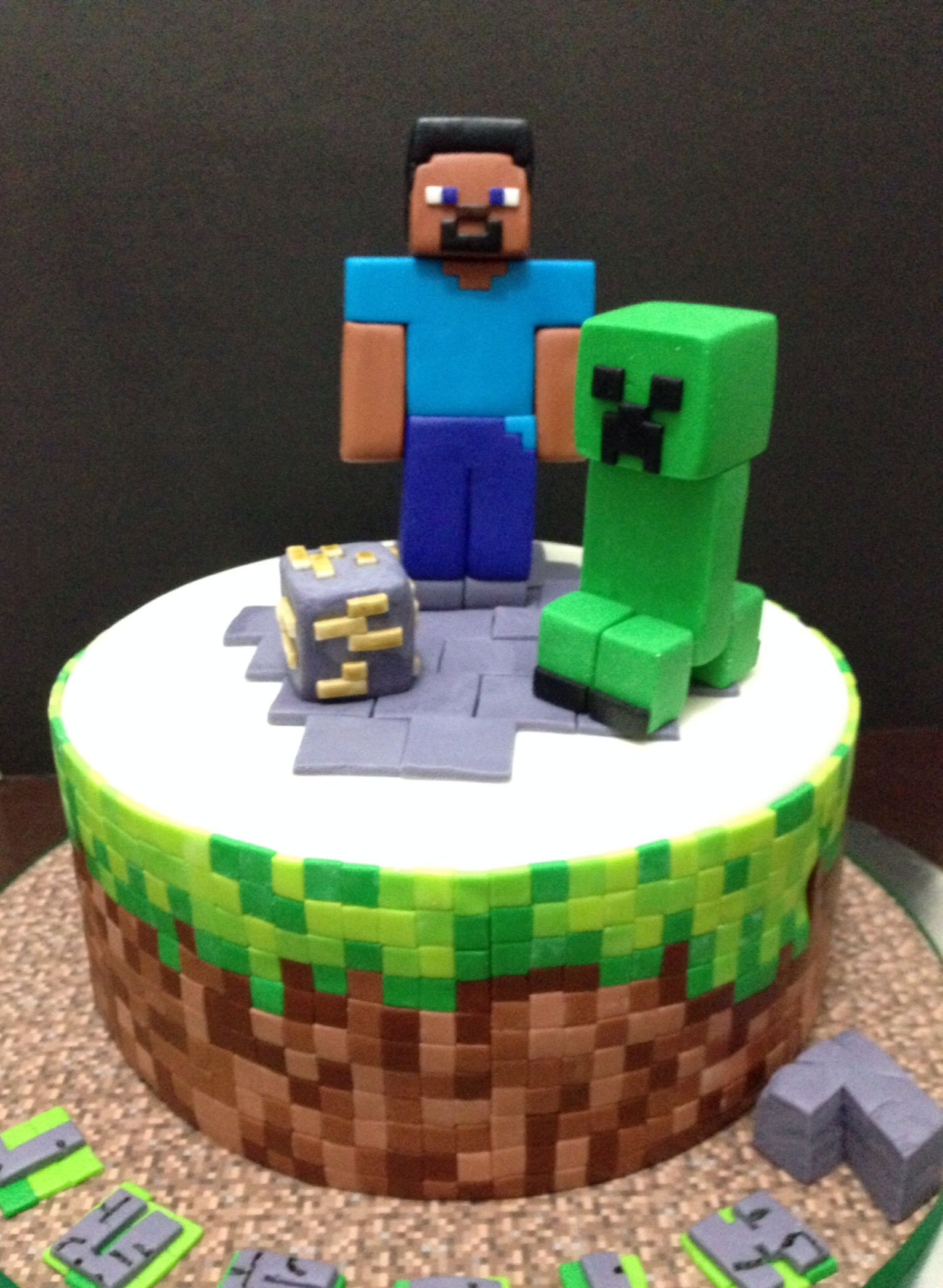 Minecraft cake for a little boy who loves to play this game a lot!