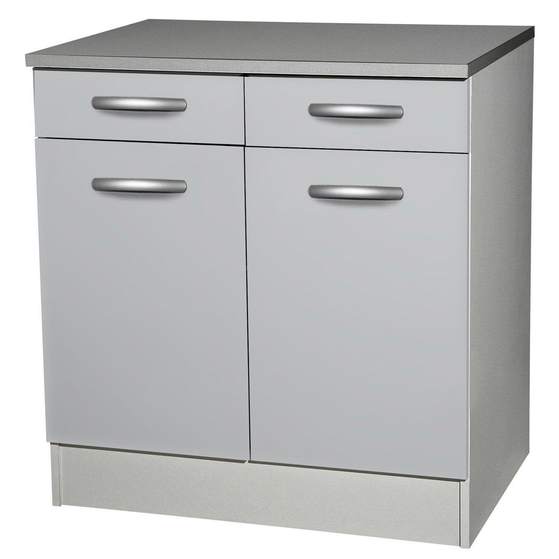 Meuble de cuisine bas 13 portes + 13 tiroirs, gris aluminium, h13x