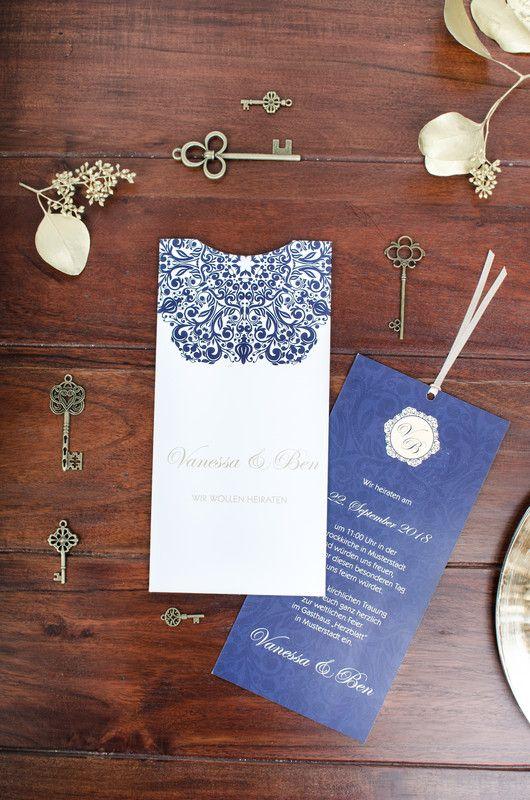 Moderne Einladungskarte Zur Hochzeit In Edlem Weiß, Blau Und Gold Als  Einsteckkarte   Vanessa Und Ben | Hochzeitseinladungen ❤ Wedding  Invitations ...