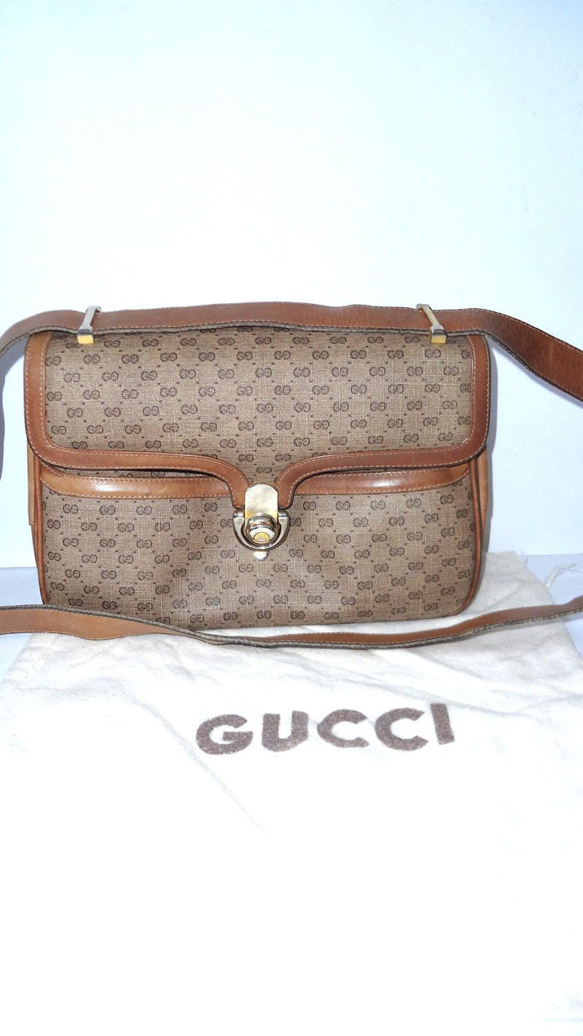 e43fc89c7eb098 Authentic Vintage GUCCI Organizing handbag micro monogram GG 70's bag  w/dustbag small super collectible cute by DoorstepFashions on Etsy