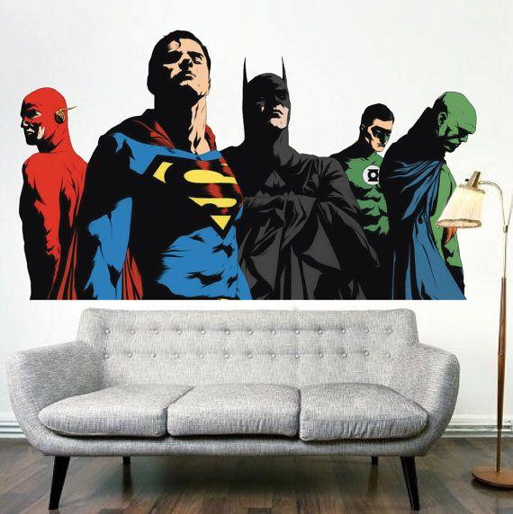 Superhero Bedroom Decals Batman Wall Decal Mural Superman
