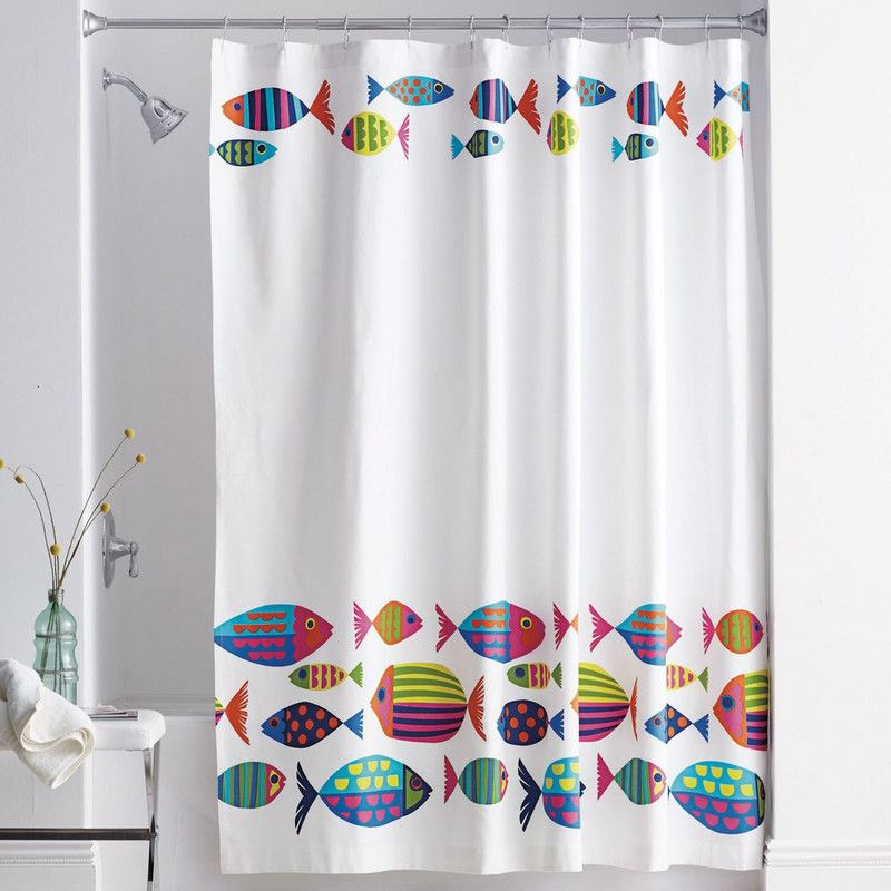 Calypso fish shower curtain schools of brightly colored for Tropical fish shower curtain